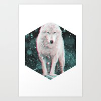 hologram Art Prints featuring hologram wolf by Avalon Corvus