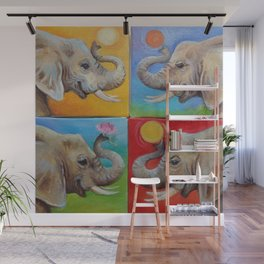 Happy Elephant Pop Art painting Fun colorful illustration Checker Red Yellow Blue Green Ball Wall Mural
