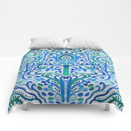 Sapphire and Emerald Watercolor Tulip Damask Comforters