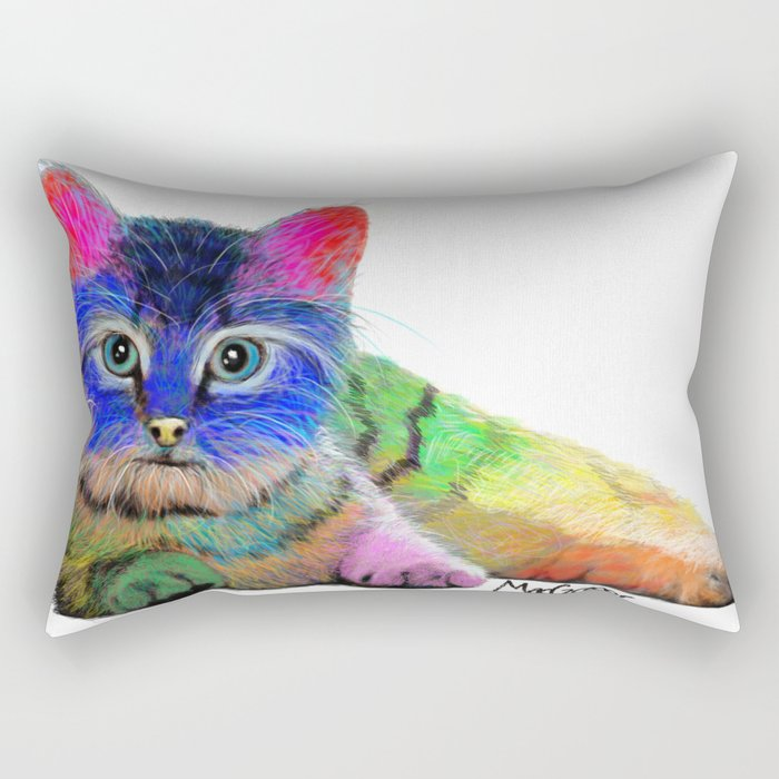 Colorful Cat Rectangular Pillow