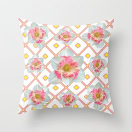 Pink-Yellow Spring Garden Daffodils Throw Pillow