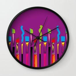 Colorful Artist Tools Contemporary Arts Wall Clock