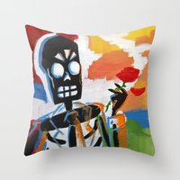 grim fandango Throw Pillows featuring Your Travel Agent - Grim Fandango by wildstar25