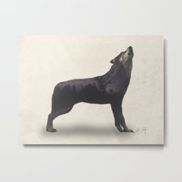 Howling Wolf (Double Exposure Animal Portraits) Metal Print