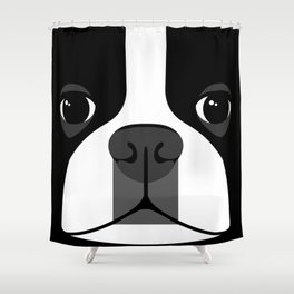 Boston Terrier Close Up Shower Curtain