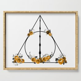 Deathly Hallows in Gold and Gray Serving Tray
