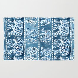 ELEPHANT SAFARI Tribal Indigo Ikat Pattern Rug