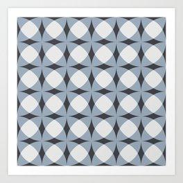 Breeze Block Shadows in Light Blue Art Print
