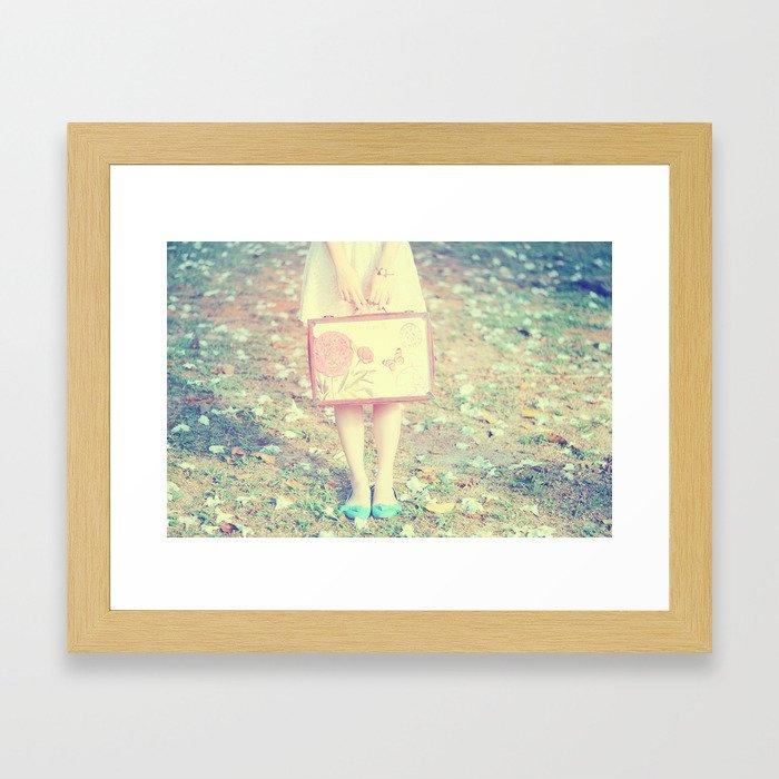 Travel Vintage Girl  Framed Art Print