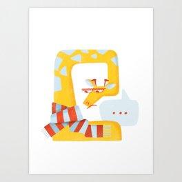 Grumpy Christmas Giraffe Art Print