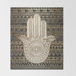 Native Pattern Golden Hamsa Hand Throw Blanket