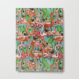 Flamingo Party Metal Print