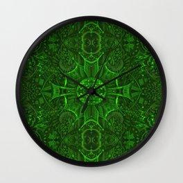 Butterfly Forest Bohemian Arabesque Pattern Emerald Wall Clock