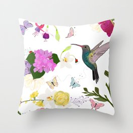 Hummingbird and flowers. Hydrangea, vanilla, fuchsia and butterflies Throw Pillow