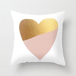 Heart of Gold (and Millennial Pink) Throw Pillow