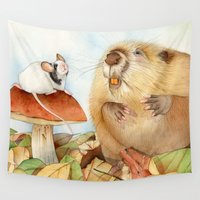 beaver Wall Tapestries featuring Mouse & Beaver by Patrizia Donaera ILLUSTRATIONS