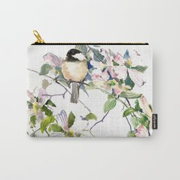 Chickadee and Dogwood Flowers Carry-All Pouch