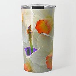 WHITE-GOLD NARCISSUS FLOWERS LAVENDER GARDEN Travel Mug