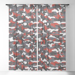 Red Squad Camouflage Sheer Curtain