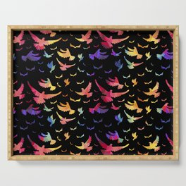 Colorful bird pattern black Serving Tray