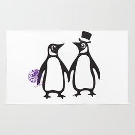 Wedding Penguins, animal lovers, wedding gift, animal illustration, zoo gift Rug