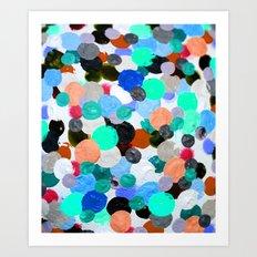 Aqua Rainbow Paint Drops Art Print