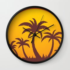 Palm Trees And Summer Sunset Wall Clock