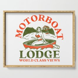 Motorboat Lodge: World Class Views. Funny Retro Pinup Girl In A Canoe Serving Tray