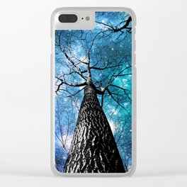 Wintry Trees Galaxy Skies Teal Blue Violet Clear iPhone Case