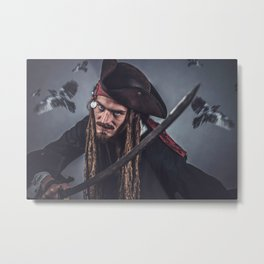 Pirate Sparrow Metal Print