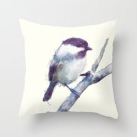 welcome Throw Pillows featuring Bird // Trust by Amy Hamilton