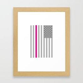 American Flag Pink Ribbon Breast Cancer Awareness Framed Art Print