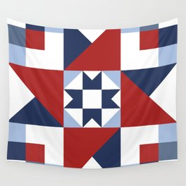 Red White and Blue Quilt Pattern Wall Tapestry