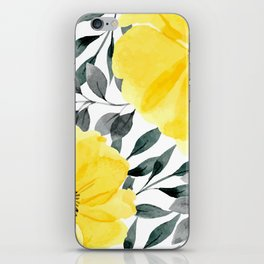 Big yellow watercolor flowers iPhone Skin