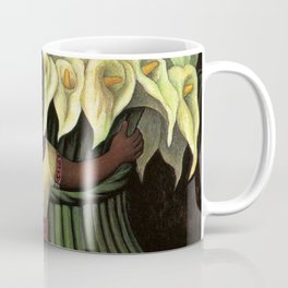 1941 Classical Masterpiece Calla lily 'Flower Seller' by Diego Rivera Coffee Mug