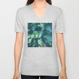 Tropical Blue Green Palm Leaves in Paradise Unisex V-Neck