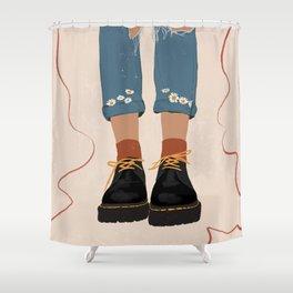 Fall Flower boots Shower Curtain
