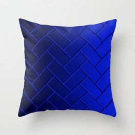 Herringbone Gradient Dark Blue Throw Pillow