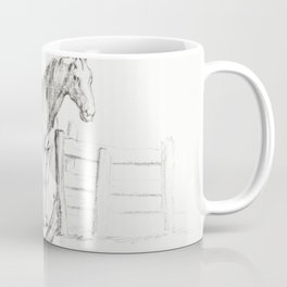 Standing horse at a fence by Jean Bernard Coffee Mug