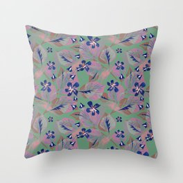 Sprigs with leaves and flowers. Throw Pillow