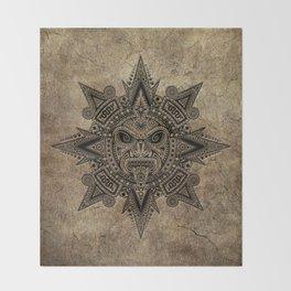 Ancient Stone Mayan Sun Mask Throw Blanket