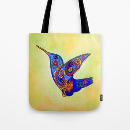 humming bird in color with green-yellow back ground Tote Bag