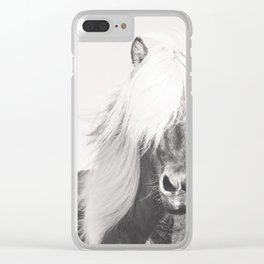 BW Horse, Horse Art, Black and White, Nordic Horse, Horse Print, Boho Decor, Horse Photo Clear iPhone Case