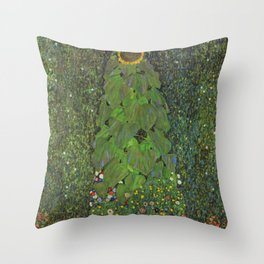 The Sunflower - Gustav Klimt Throw Pillow