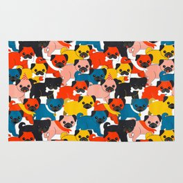 COLORED PUGS PATTERN no2 Rug