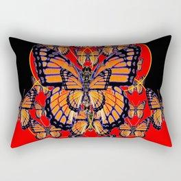 ABSTRACT BLACK-RED MONARCH BUTTERFLIES ART Rectangular Pillow