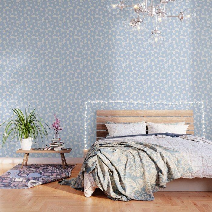 Large Baby Blue Retro Flowers White Background Decor Society6 Buyart Wallpaper By Pivivikstrm