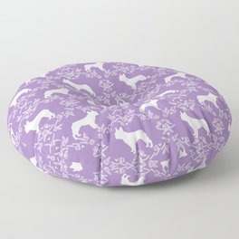 French Bulldog floral minimal purple and white pet silhouette frenchie pattern Floor Pillow