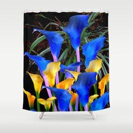 BLACK MODERN ABSTRACT BLUE & GOLD CALLA LILIES Shower Curtain