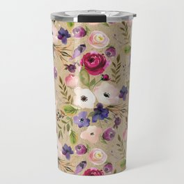 Modern blush pink purple green elegant floral leaves Travel Mug